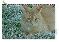 Cat In Frosty Grass Carry-all Pouch by Shirley Heyn