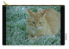 Cat In Frosty Grass Carry-all Pouch
