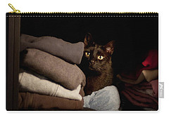 Carry-all Pouch featuring the photograph Cat In The Closet by Laura Melis