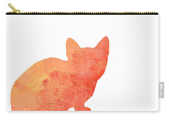 Watercolor Orange Cat Silhouette Carry-all Pouch