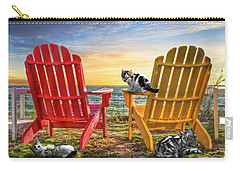 Carry-all Pouch featuring the photograph Cat Nap At The Beach by Debra and Dave Vanderlaan