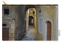 Carry-all Pouch featuring the photograph Cat On A Quiet Street In Viviers by Allen Sheffield