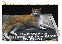 Cat On Dull Women Mat Carry-all Pouch by Sally Weigand