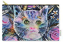 Carry-all Pouch featuring the painting Cat On Flower Bed by Zaira Dzhaubaeva