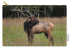 Carry-all Pouch featuring the digital art Cataloochee Valley Elk  by Chris Flees