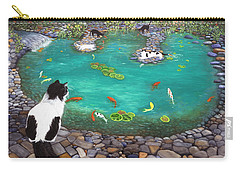 Carry-all Pouch featuring the painting Cats And Koi by Karen Zuk Rosenblatt