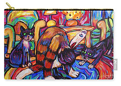Cats In The Lounge Carry-all Pouch by Dianne  Connolly