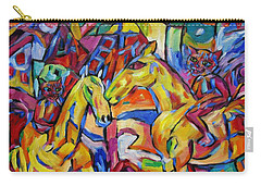 Carry-all Pouch featuring the painting Cats On Horse Intensity by Dianne  Connolly