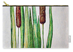 Carry-all Pouch featuring the drawing Cattails II by J R Seymour