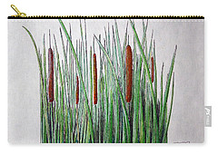 Carry-all Pouch featuring the drawing Cattails IIi by J R Seymour