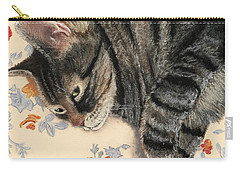 Carry-all Pouch featuring the painting Cattitude by Anastasiya Malakhova