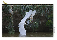 Cattle Egret Harassing An Adult Egret - Digitalart Carry-all Pouch