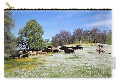 Cattle N Flowers Carry-all Pouch by Diane Bohna