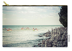 Carry-all Pouch featuring the photograph Cave Point Rock Formations by Joel Witmeyer