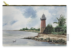 Carry-all Pouch featuring the painting Cayman Lighthouse by Sam Sidders