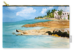 Carry-all Pouch featuring the painting Cayman Shoreline by Donna Walsh