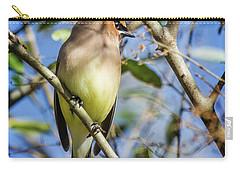 Cedar Waxwing Perch II Carry-all Pouch by Karen Jorstad