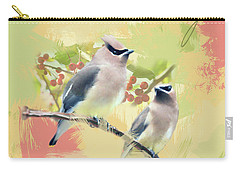 Carry-all Pouch featuring the photograph Cedar Waxwing Watercolor Photo by Heidi Hermes