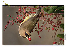 Cedar Waxwing With Toyon Berry Carry-all Pouch