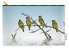 Cedar Waxwings On A Branch Carry-all Pouch