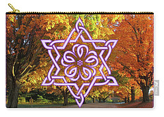 Celtic Hexagram Rose In Lavandar Carry-all Pouch