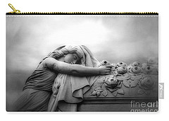Carry-all Pouch featuring the photograph Cemetery Grave Mourner Black White Surreal Coffin Grave Art - Angel Mourner Across Rose Coffin by Kathy Fornal