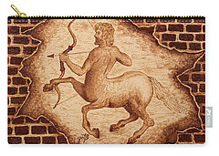 Carry-all Pouch featuring the painting Centaur Hunting Original Coffee Painting by Georgeta Blanaru