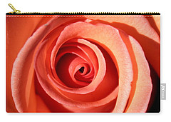 Carry-all Pouch featuring the photograph Center Of The Peach Rose by Barbara Chichester