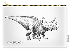 Cera The Triceratops - Dinosaur Ink Drawing Carry-all Pouch by Karen Whitworth