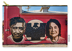 Carry-all Pouch featuring the photograph Cesar Chavez And Dolores Huerta Mural - Utah by Gary Whitton