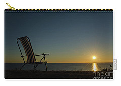 Carry-all Pouch featuring the photograph Chair By The Setting Sun by Kennerth and Birgitta Kullman