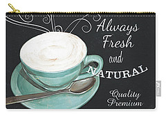 Carry-all Pouch featuring the painting Chalkboard Retro Coffee Shop 1 by Debbie DeWitt