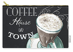 Carry-all Pouch featuring the painting Chalkboard Retro Coffee Shop 2 by Debbie DeWitt
