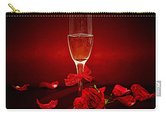 Champagne Glass With Red Roses And Petals Carry-all Pouch by Serena King