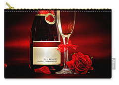 Champagne With Red Roses And Petals Carry-all Pouch by Serena King
