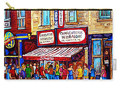 Charcuterie Hebraique Schwartz Line Up Waiting For Smoked Meat Montreal Paintings Carole Spandau     Carry-all Pouch