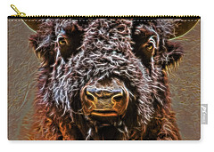 Carry-all Pouch featuring the digital art Charging Bison by Ray Shiu