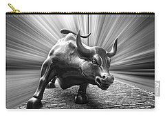 Charging Wall Street Bull B W Carry-all Pouch