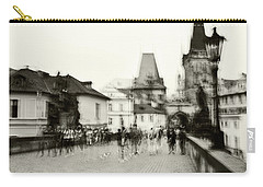 Carry-all Pouch featuring the photograph Charles Bridge. Black And White. Impressionism by Jenny Rainbow