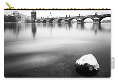 Charles Bridge During Winter Time With Frozen River, Prague, Czech Republic Carry-all Pouch