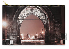 Carry-all Pouch featuring the photograph Charles Bridge In Winter. Prague by Jenny Rainbow