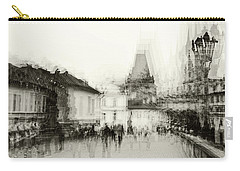 Carry-all Pouch featuring the photograph Charles Bridge Promenade. Black And White. Impressionism by Jenny Rainbow