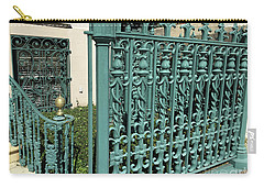 Carry-all Pouch featuring the photograph Charleston Aqua Turquoise Rod Iron Gate John Rutledge House - Charleston Historical Architecture by Kathy Fornal