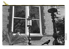 Carry-all Pouch featuring the photograph Charleston French Quarter Architecture - Window Street Lanterns Gothic French Black White Art Deco  by Kathy Fornal
