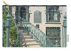 Carry-all Pouch featuring the photograph Charleston Historical John Rutledge House - Aqua Teal Gate Staircase Architecture - Charleston Homes by Kathy Fornal