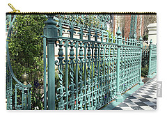 Carry-all Pouch featuring the photograph Charleston Historical John Rutledge House Fleur Des Lis Aqua Teal Gate Fence Architecture  by Kathy Fornal