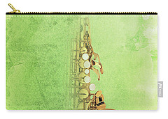 Charlie Parker Saxophone Green Vintage Poster And Quote, Gift For Musicians Carry-all Pouch