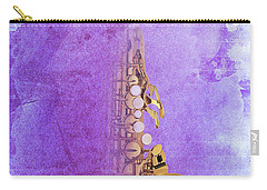 Charlie Parker Saxophone Purple Vintage Poster And Quote, Gift For Musicians Carry-all Pouch