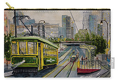 Charlotte Urban Cityscape And Streetcar  Carry-all Pouch