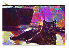 Carry-all Pouch featuring the digital art Chartreux Cat Animals Pet Mieze  by PixBreak Art